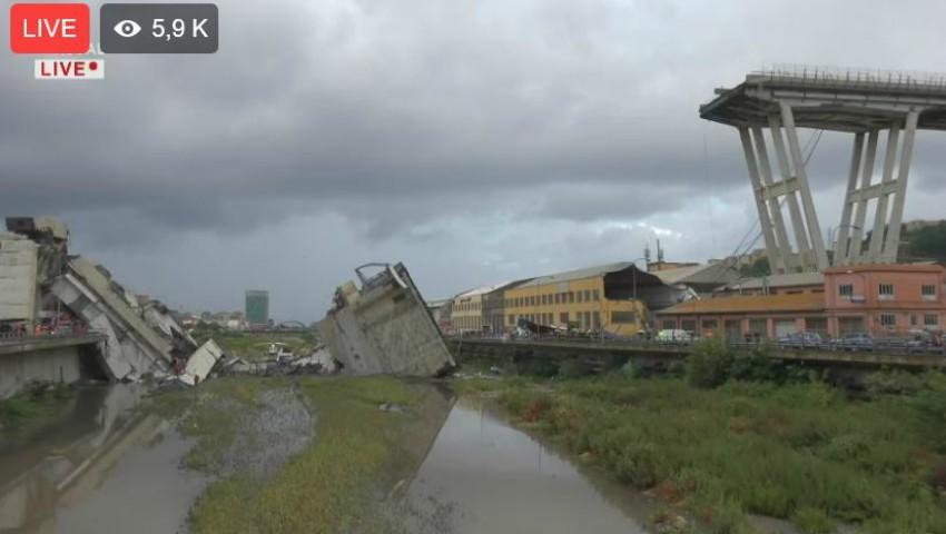 """Foto: Tragedie în Italia. ,,Zeci de morți"""" după ce un pod s-a prăbușit la Genova"""