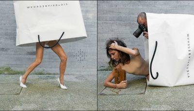 Motivul pentru care Victoria Beckham a pozat ieșind dintr-o pungă imensă