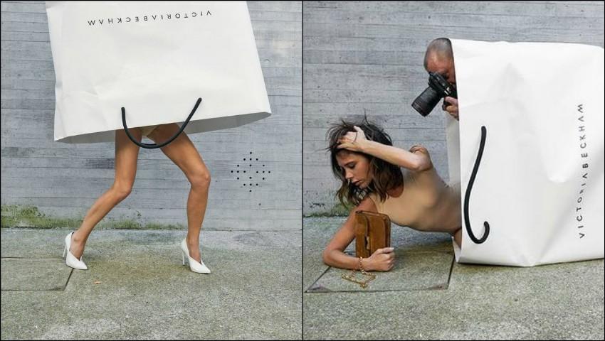 Foto: Motivul pentru care Victoria Beckham a pozat ieșind dintr-o pungă imensă