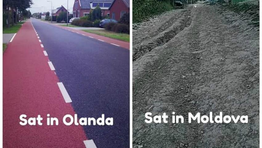Foto: Ce deosebește drumurile din Moldova de cele din Olanda?