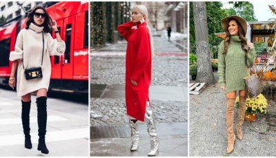 Despre principalele tendințe în modă: 15 idei cum să porți o rochie – pulover în această toamnă
