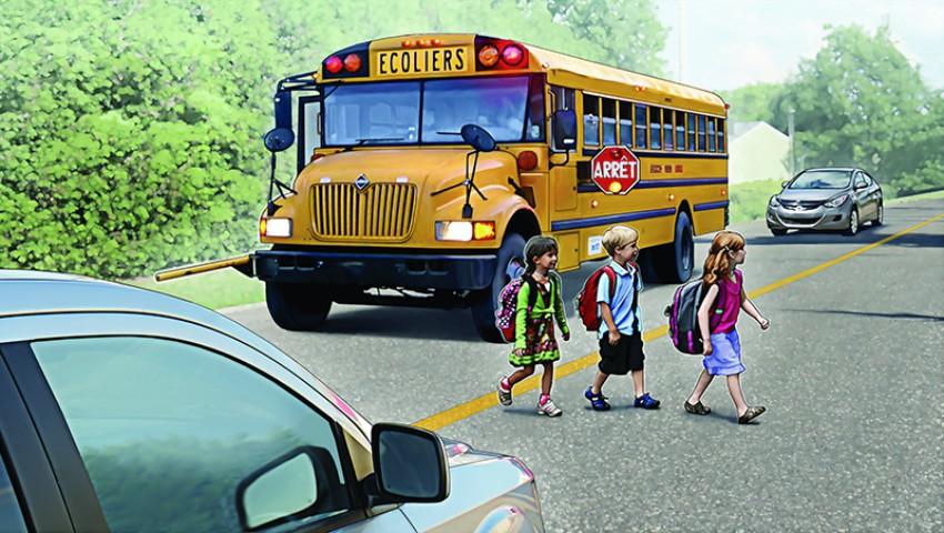 Foto: Video! În Canada, toate mașinile opresc când autobuzul școlii ajunge în stație