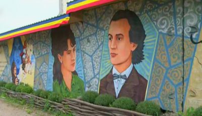 Impresionant! La Costești a apărut o pictură murală cu versurile lui Eminescu