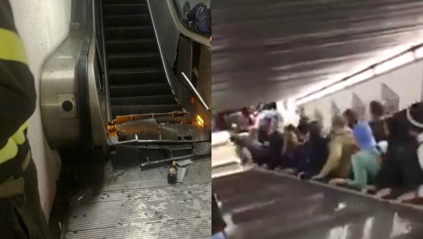 Imagini șocante. O scară rulantă s-a prăbușit în metroul din Roma. Zeci de răniți, în stare gravă