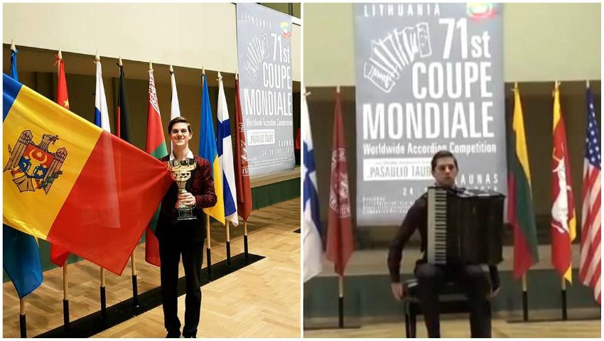 Foto: Tânărul artist moldovean Radu Rațoi a câștigat Cupa Mondială la acordeon! Video
