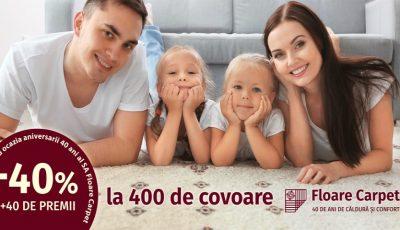 400 de covoare cu reducere specială de 40% la 40 de ani Floare Carpet SA! Bucură-te de surprize și premii valoroase!