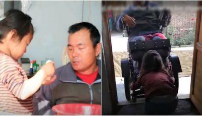 O fetiţă de doar şase ani îşi îngrijeşte singură tatăl paralizat. Video emoționant
