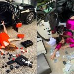 Foto: Mai multe imagini cu tinere cad din mașină, cu conținutul poșetei împrăștiat pe jos. Ce se întâmplă?