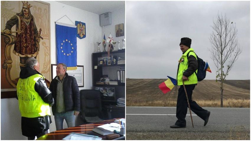 Foto: Pe jos, în drum spre Alba Iulia. Profesorul Ion Mărgineanu a ajuns în comuna Ștefan cel Mare, din județul Neamț