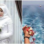 Foto: O mireasă a cărei logodnic a murit în avionul din Indonezia, prăbușit în mare, a apărut singură la nuntă