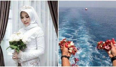 O mireasă a cărei logodnic a murit în avionul din Indonezia, prăbușit în mare, a apărut singură la nuntă