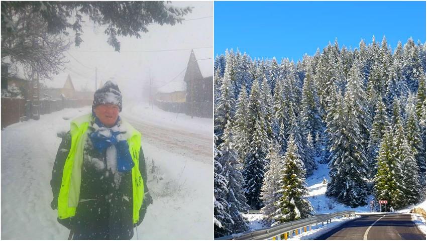 """Foto: Profesorul Ion Mărgineanu înaintează, prin ploaie și ninsoare, pe jos spre Alba Iulia: ,,E păcat pe așa un viscol să trăiești fără un țel"""""""