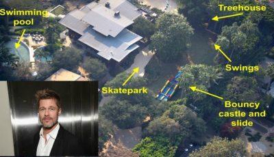 Un parc de distracții imens a apărut în curtea casei lui Brad Pitt