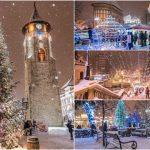 Foto: A nins peste Pomul de Crăciun! Imagine de poveste surprinse într-un oraș de peste Prut
