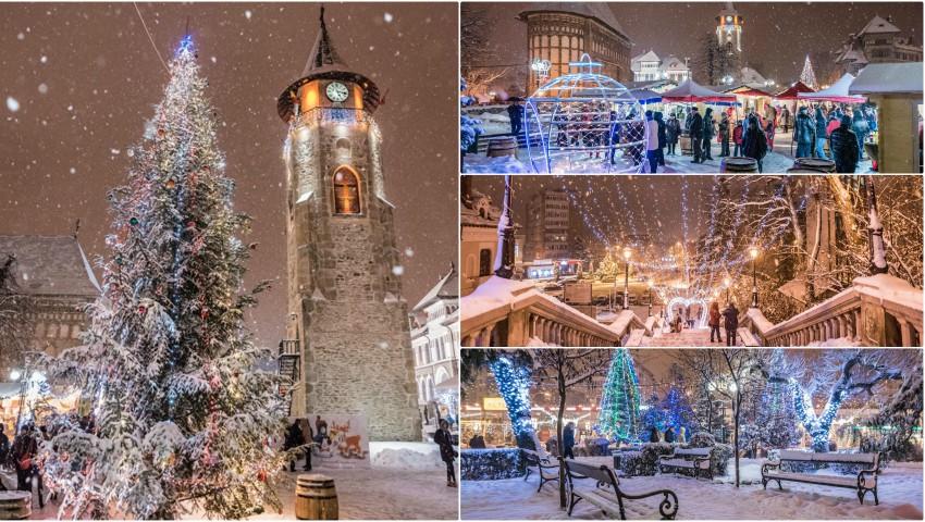 A nins peste Pomul de Crăciun! Imagine de poveste surprinse într-un oraș de peste Prut