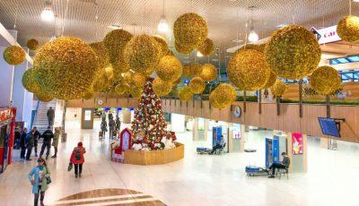 Aeroportul Internațional Chișinău a fost decorat de Sărbători. Foto