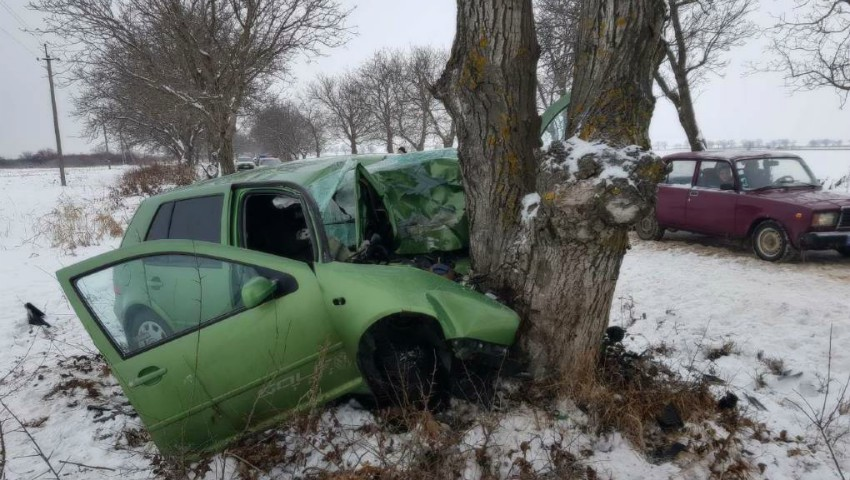 O șoferiță de 22 de ani a ajuns cu mașina într-un copac. Avea 100 km/h