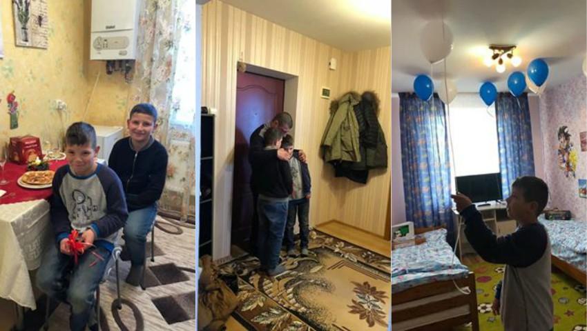 Foto: Cei doi frați orfani de mamă, de Crăciun au primit în dar căsuța nouă, de care aveau nevoie