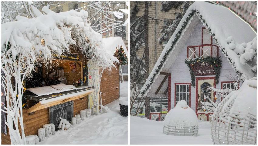 Foto: Imagini de poveste! Târgul de Crăciun din Capitală a îmbrăcat straie albe