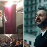 Foto: Un zbor mai ușor și vesel! Interpretul Adrian Ursu a cântat pentru moldovenii care zburau spre Barcelona