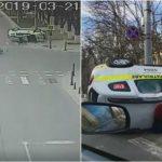 Foto: Video! Momentul accidentului violent din capitală, în care o mașină a poliției s-a răsturnat pe traseu