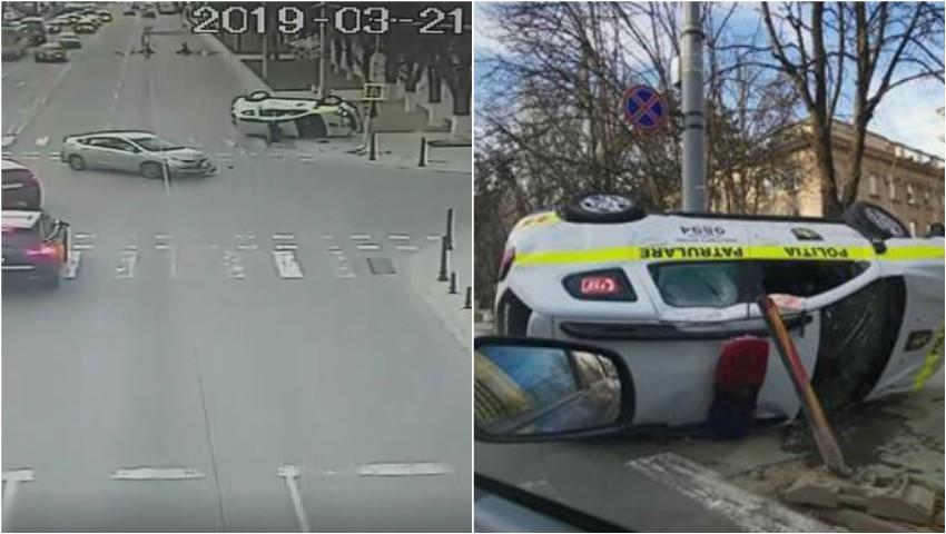 Video! Momentul accidentului violent din capitală, în care o mașină a poliției s-a răsturnat pe traseu
