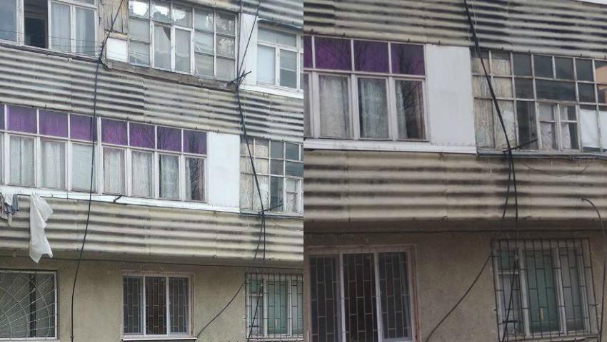 Foto: Priveliști ciudate în Capitală. Furtunurile de evacuare ale mașinilor de spălat au fost scoase pe geam