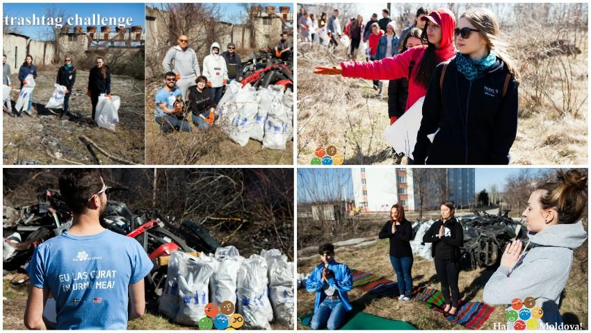 """Foto: Echipa și voluntarii """"Hai, Moldova!"""" au evacuat 100 de saci de gunoi și o remorcă cu piese uzate de la marginea Parcului """"Muzeul Satului"""""""