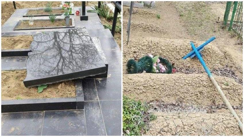 Foto: Doi minori au distrus zeci de morminte într-un cimitir din Strășeni. Părinţii acestora vor fi amendaţi