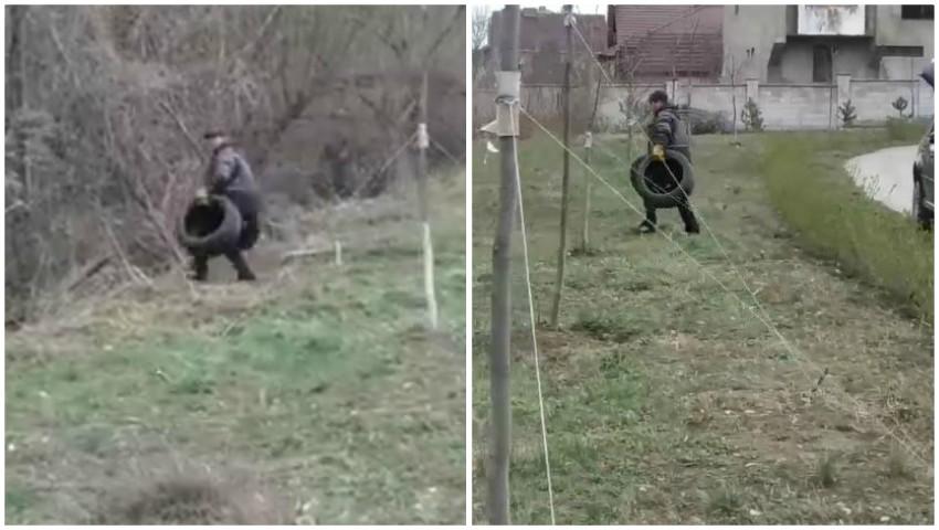 Foto: Un bărbat din Capitală a fost surprins în timp ce arunca într-o zonă verde anvelopele uzate ale mașinii