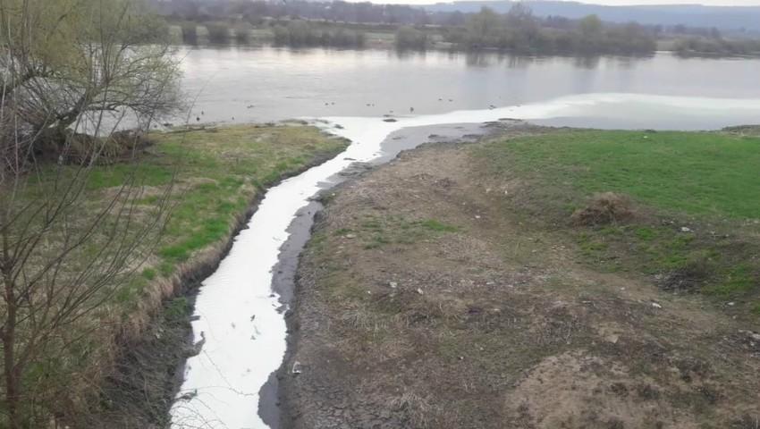 Foto: Ce este lichidul alb care se scurge în râul Nistru, în apropiere de Cetatea Sorocii