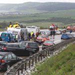 Foto: Pe o autostradă din Germania, 50 de mașini s-au ciocnit în lanț