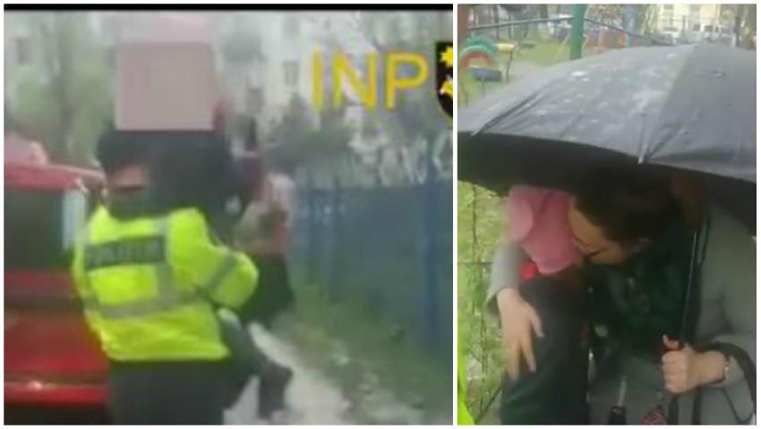Foto: O fetiță găsită udă, în ploaie, a fost ajutată de către polițiștii de patrulare să ajungă la mama sa
