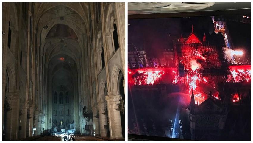 Foto: Au apărut primele imagini din interiorul Catedralei Notre-Dame. Altarul și crucea sunt întregi