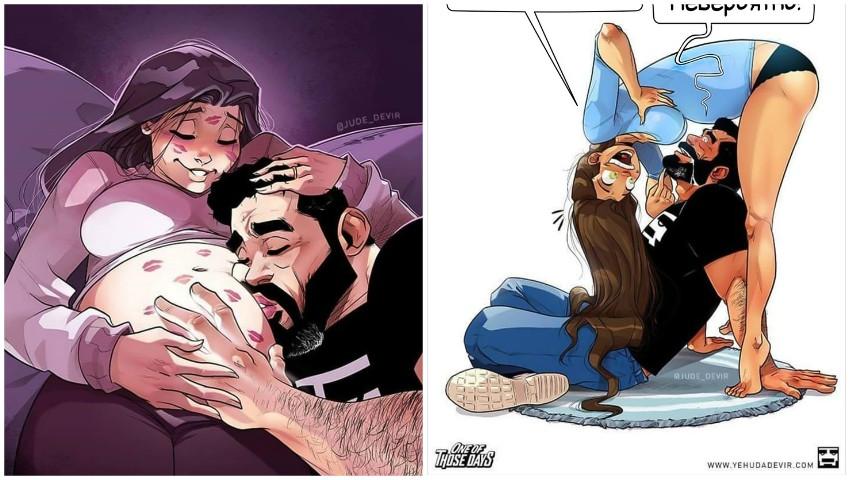 Foto: Sarcina în ipostaze amuzante! Imaginile realizate de un pictor israelian au binedispus internauții