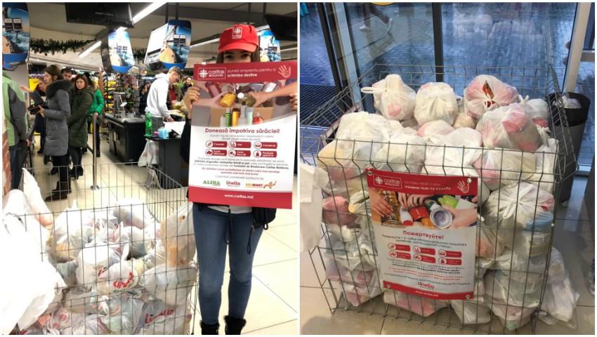 """Foto: Zeci de oameni s-au implicat în campania umanitară """"Donează împotriva sărăciei"""" și au donat produse alimentare pentru cei nevoiași!"""