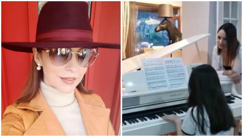 Video! Imagini rare cu fiica Andreei Marin! Violeta cântă impecabil la pian