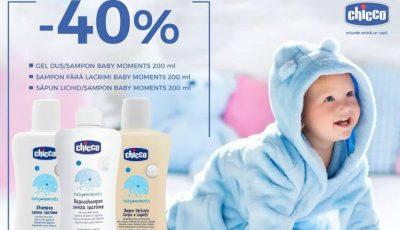 Reduceri de 40% la produsele de îngrijire Chicco Baby Moments!