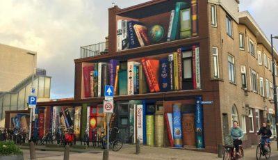 """""""O bibliotecă de mărimea unui bloc"""", ideea ingenioasă a unui artist stradal"""