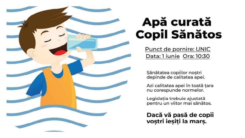 """Foto: ,,Apă curată = Copil sănătos"""" – părinții organizează un marș pentru un mediu sănătos de viață al copiilor!"""