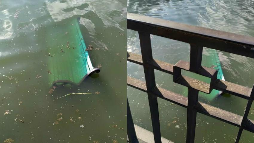 """Foto: O bancă din parcul ,,Valea Morilor"""" a fost smulsă și aruncată în lac"""
