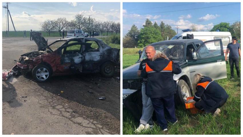 Foto: Accident teribil la intrarea în Criuleni: o mașină de la școala auto a ars, iar un pasager a decedat
