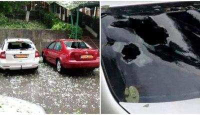 Prăpăd în România. Grindina cât un ou de găină a spart mașini și a rănit oameni