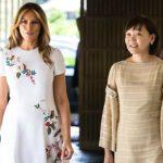 Foto: Cum arată ținuta de 4.000 de dolari purtată de Melania Trump la întâlnirea cu împărăteasa Japoniei