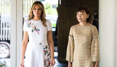Cum arată ținuta de 4.000 de dolari purtată de Melania Trump la întâlnirea cu împărăteasa Japoniei