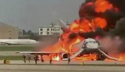 Imagini de coșmar din interiorul avionului încins la Moscova, surprinse de către un pasager