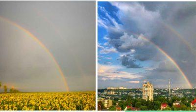 Imagini încântătoare! Curcubee spectaculoase pe cerul Moldovei