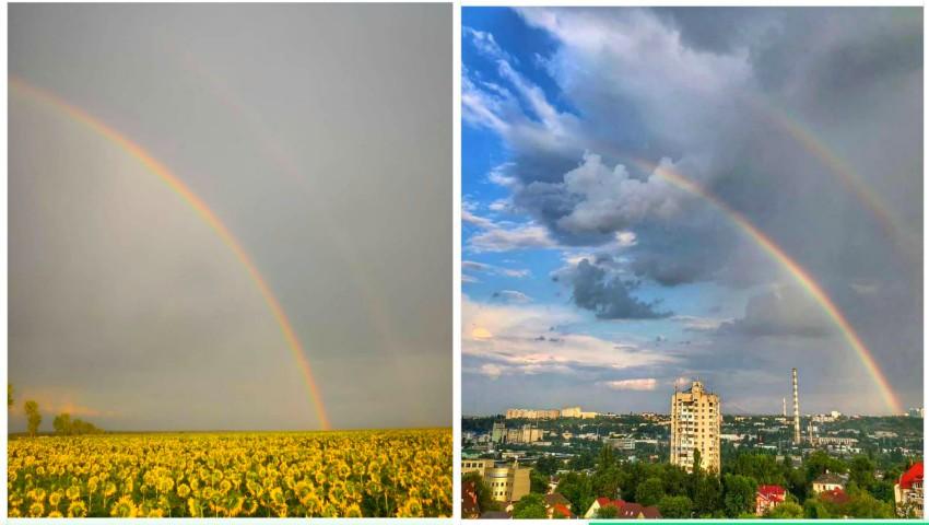 Foto: Imagini încântătoare! Curcubee spectaculoase pe cerul Moldovei