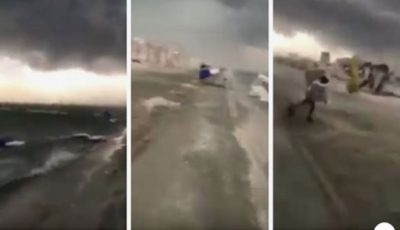 Video! Furtună violentă pe litoralul românesc. Vântul a luat pe sus umbrelele și a distrus șezlongurile