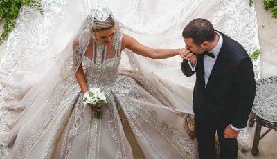 Designerul Elie Saab și-a însurat fiul și a creat patru rochii de mireasă pentru nora sa